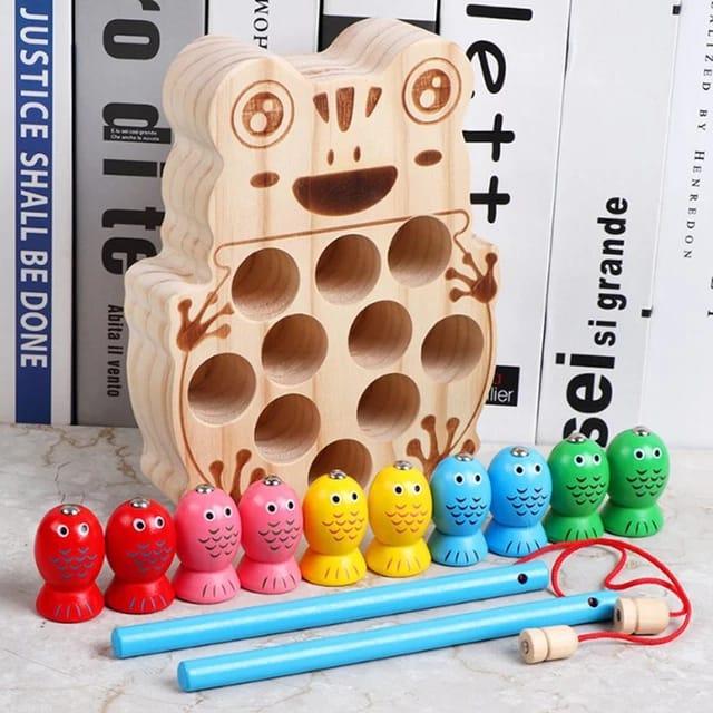 Joc Montessori  din lemn de pescuit - model broscuta 0