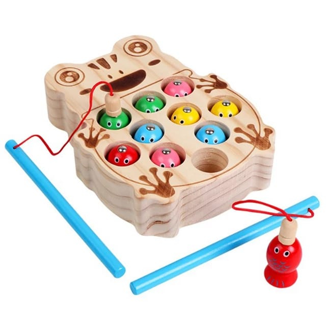 Joc Montessori  din lemn de pescuit - model broscuta 1