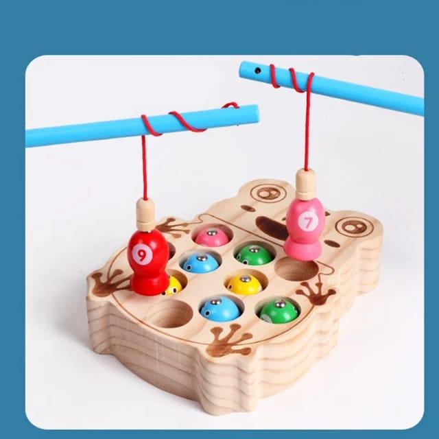 Joc Montessori  din lemn de pescuit - model broscuta 2