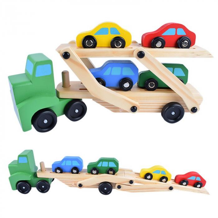 Camion din lemn cu platforma mobila si 4 masinute colorate [5]
