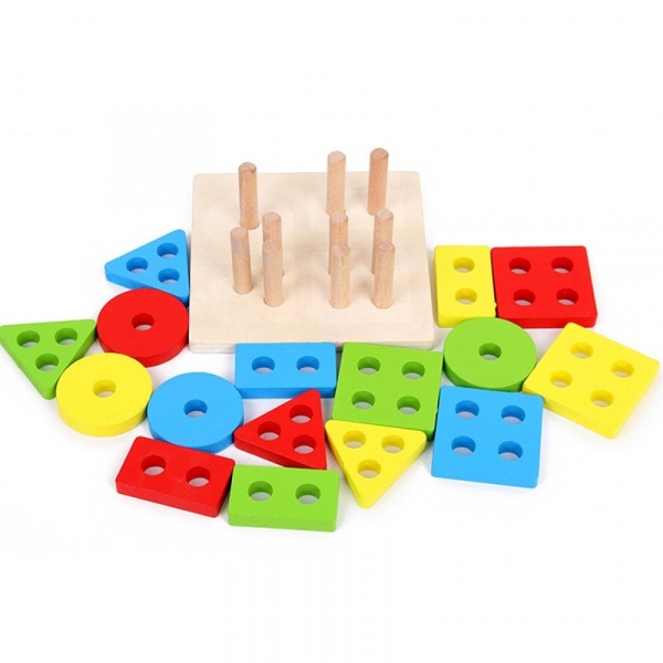 Jucarie lemn coloane sortator forme geometrice si culori. [1]