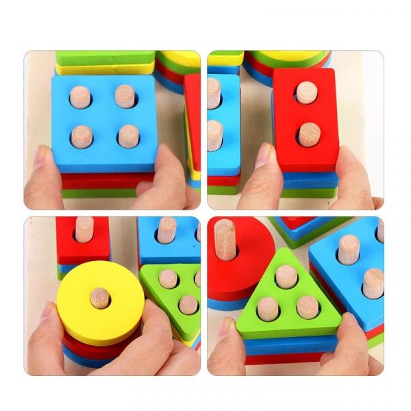 Jucarie lemn coloane sortator forme geometrice si culori. [2]