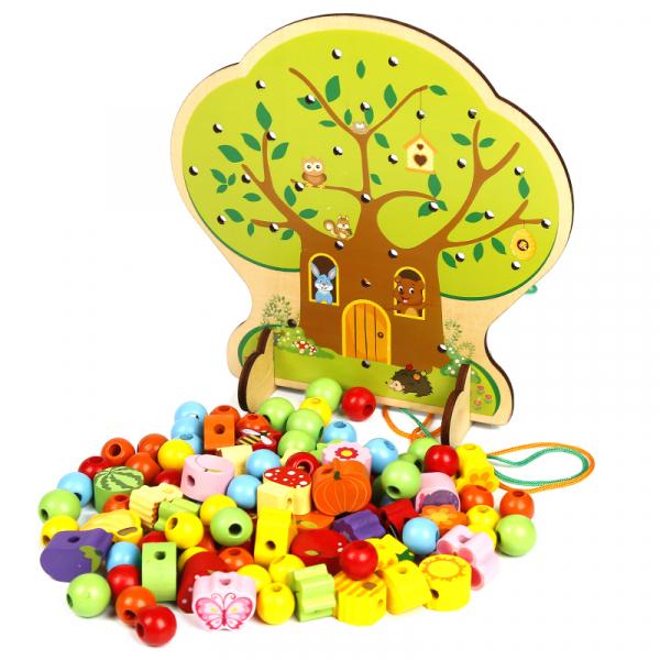 Copac Montessori Joc de snuruit cu fructe din lemn 102 piese [1]