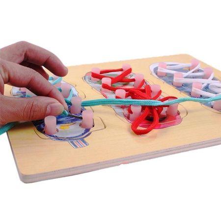 Joc puzzle lemn Invatam sa legam sireturile. [3]