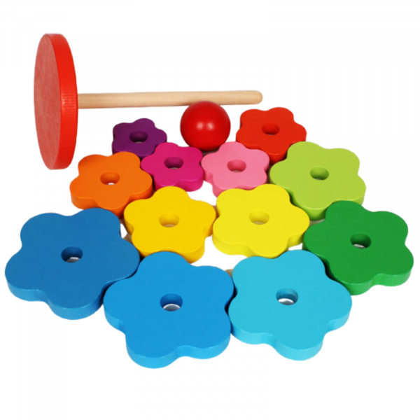 Turn Montessori din Lemn 13 piese curcubeu. [2]