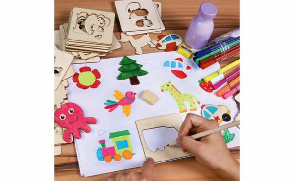 Kit complet pentru desen cu 56 sabloane din lemn si accesorii 2