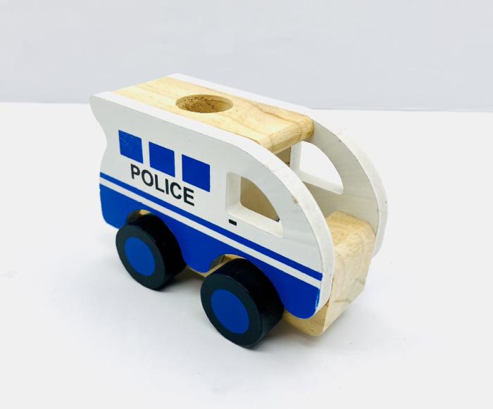 Masina de politie din lemn 2