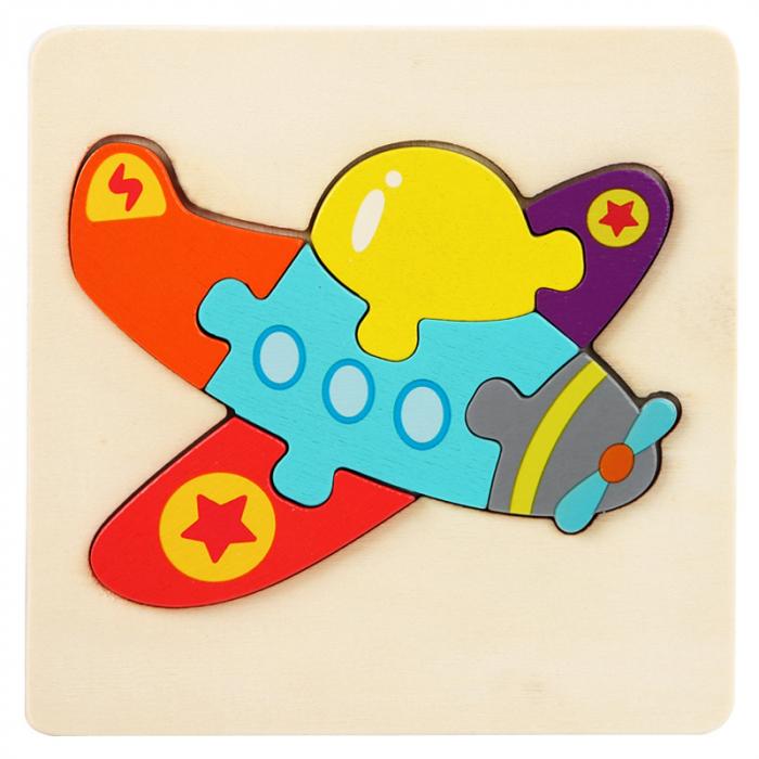 Puzzle din lemn multicolor - model avion [0]