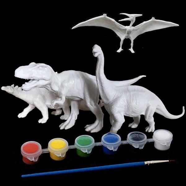 Kit Complet desen -Picteaza dinozaurul cu figurine acuarele si pensula 4