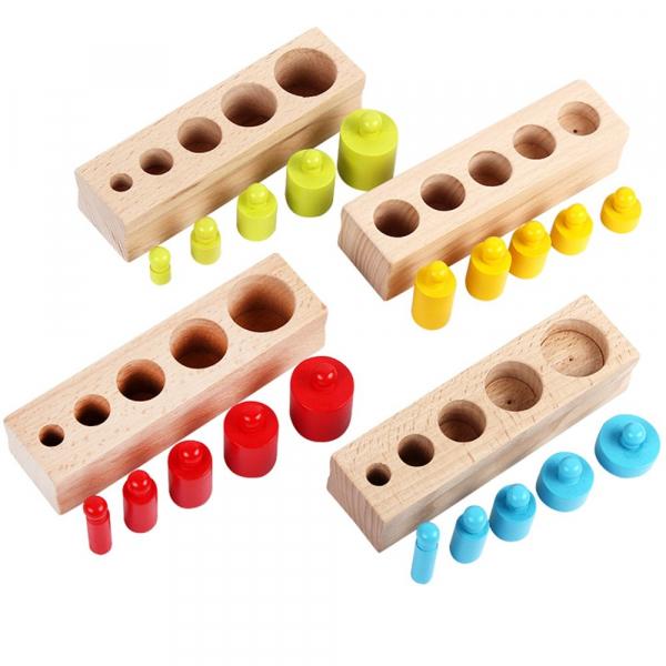 Cilindrii Montessori – 4 seturi cilindri lemn colorati . 2