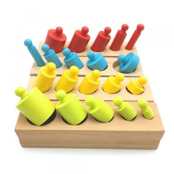 Cilindrii Montessori – 4 seturi cilindri lemn colorati . 4