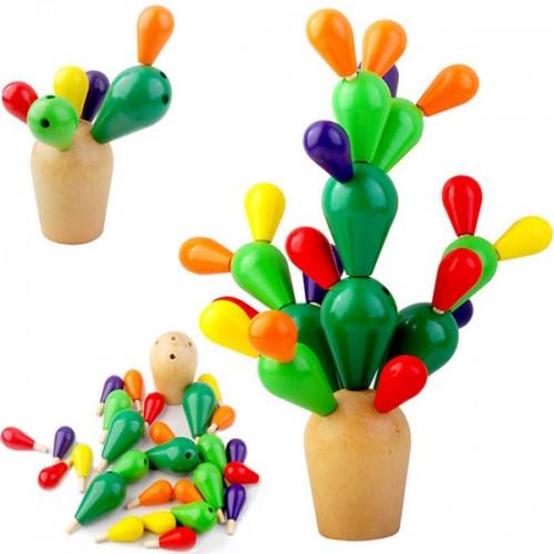 Cactus din lemn colorat-Jucarie de tip Montessori 1