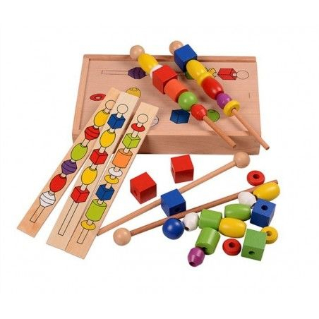 Jucarie Montessori din lemn - Insira bilele pe bete. 0