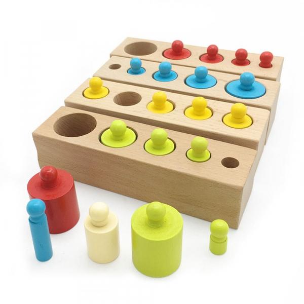 Cilindrii Montessori – 4 seturi cilindri lemn colorati . 0