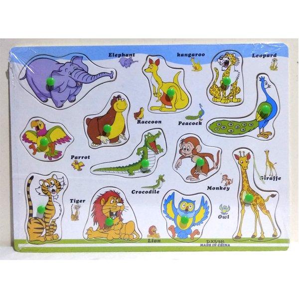 Puzzle cu buton invata animalele in engleza . [1]