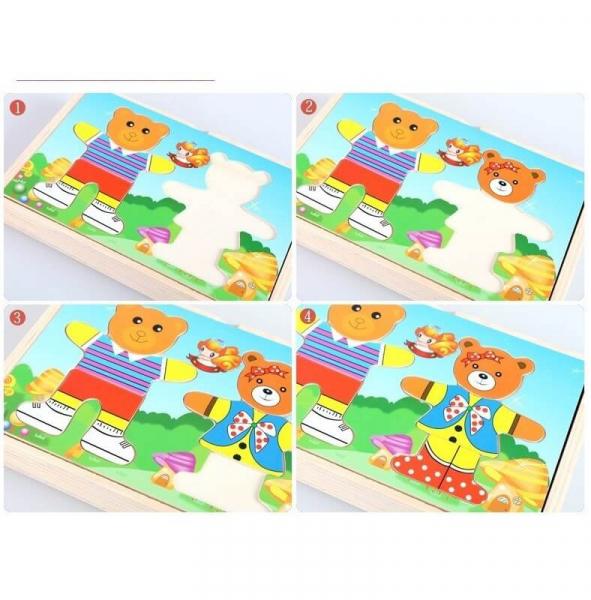 Puzzle lemn imbraca cei 2 ursi 2