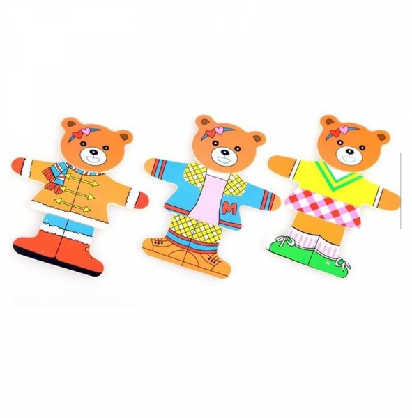 Puzzle lemn imbraca cei 2 ursi 1