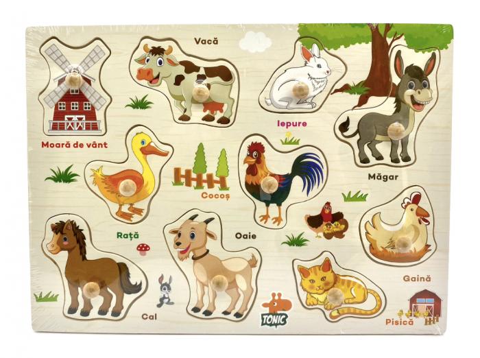 Puzzle din lemn  in romana  -Invatam animalele domestice [0]