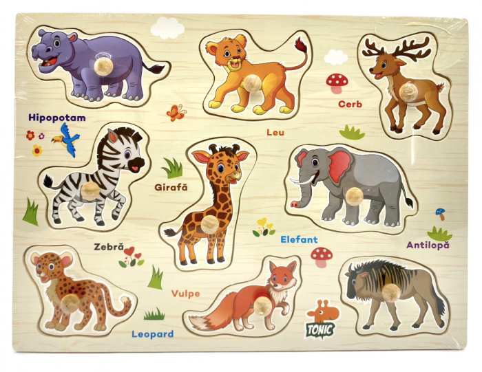 Puzzle din lemn  in romana  -Invatam animalele salbatice [0]