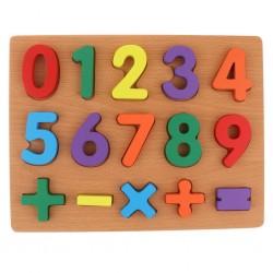 Puzzle incastru din lemn cu cifre de la 0 la 9 si forme geometrice. 0