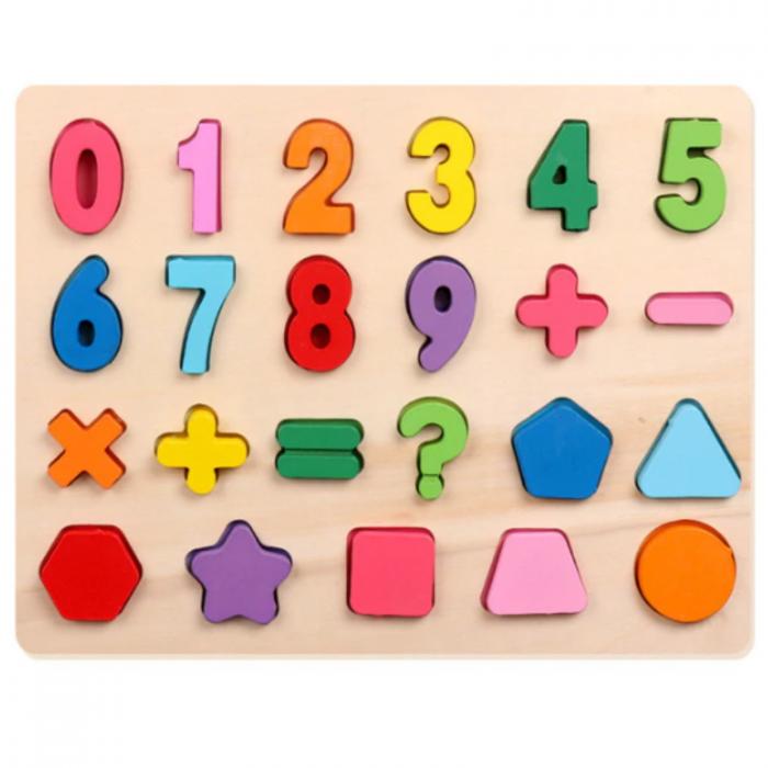 Puzzle incastru din lemn cu cifre de la 0 la 9   si forme geometrice colorate [0]