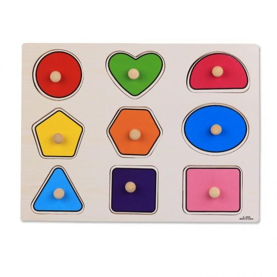 Puzzle Incastru Din Lemn Cu Forme Geometrice Cu Buton Diferite Modele [2]