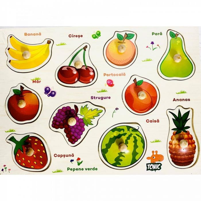 Puzzle din lemn  in romana  -Invatam fructele [0]