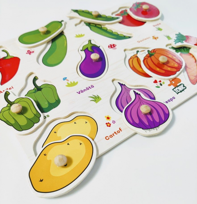 Puzzle din lemn  in romana  -Invatam legumele [1]