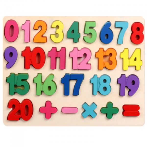 Puzzle incastru din lemn cu cifre, numere de la 1 la 20. [0]