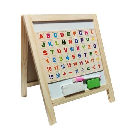 Tabla din lemn 2 in 1 cu creta marker buretecifre si litere magnetice [1]