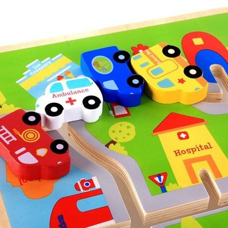 Joc 3D din lemn labirint cu masini -Traseul Urban [3]
