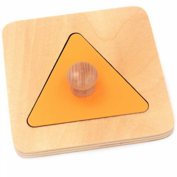 Set 4 puzzle uri din lemn montessori cu maner forme geometrice . 2