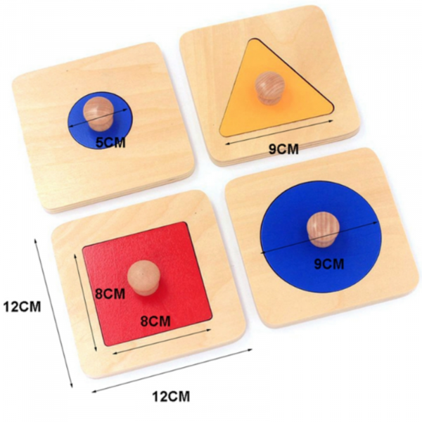 Set 4 puzzle uri din lemn montessori cu maner forme geometrice . 4