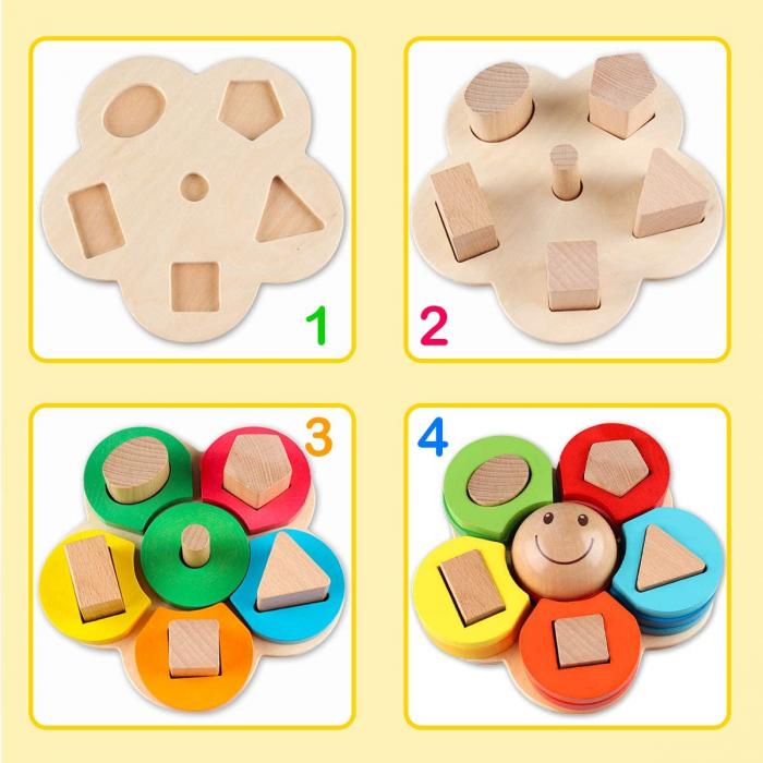 Sortator din lemn model floare  - invata formele geometrice si culorile 2