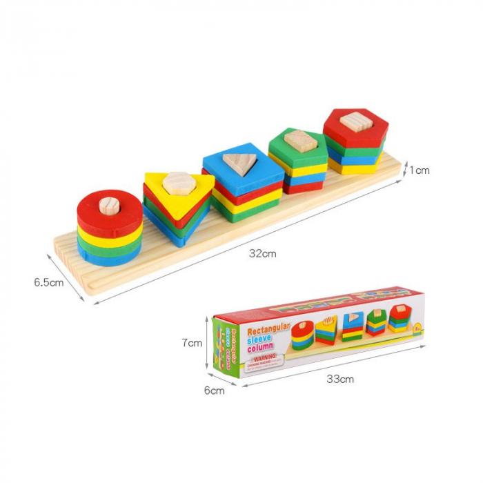 Sortator din lemn cu 5 coloane-Invatam formele geometrice si culorile [2]