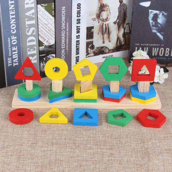 Sortator din lemn cu 5 coloane-Invatam formele geometrice si culorile [1]