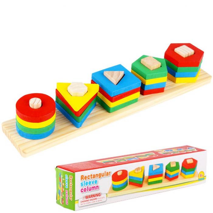 Sortator din lemn cu 5 coloane-Invatam formele geometrice si culorile [0]