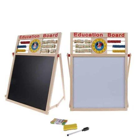 Tabla magnetica din lemn cu 2 fete pentru scris cu creta si desenat cu carioca 1