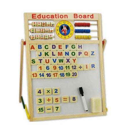 Tabla magnetica din lemn cu 2 fete pentru scris cu creta si desenat cu carioca 2