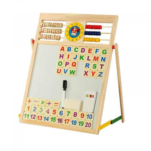 Tabla magnetica din lemn cu 2 fete pentru scris cu creta si desenat cu carioca 3