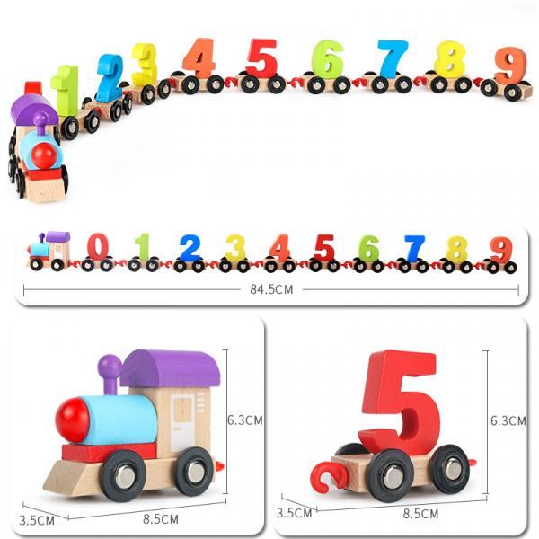 Tren din lemn cu numere colorate Digital Train 3