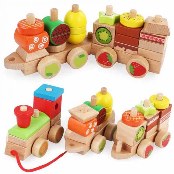 Trenulet Montessori din lemn Forme Si Fructe colorate . 1