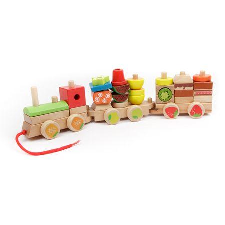 Trenulet Montessori din lemn Forme Si Fructe colorate . 0