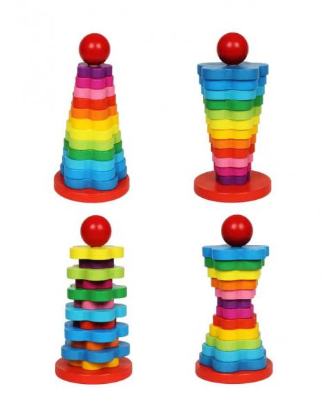 Turn Montessori din Lemn 13 piese curcubeu. [1]