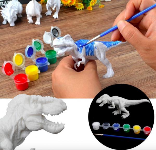Set de Pictat culori acrilice- Coloreaza Dinozaurul 0