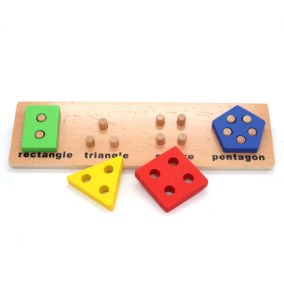 Joc educativ Montessori din lemn  Geometrical shape coghition board D, 4 forme geometrice, Multicolor1
