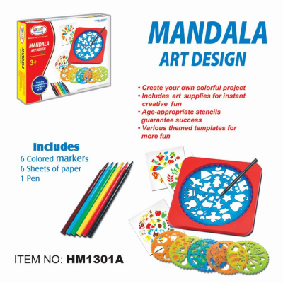 Set creativ 6 mandale din plastic cu   carioci si accesorii [1]