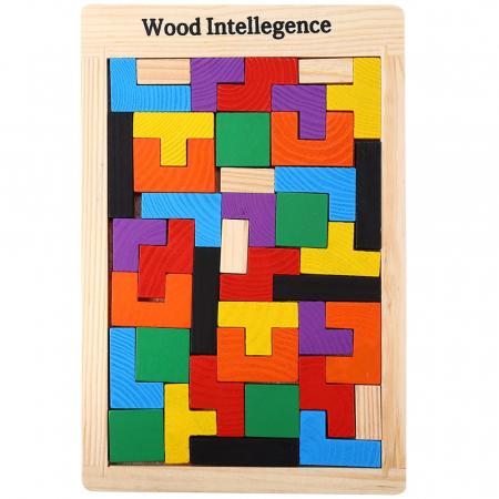 Joc de logica Tetris din lemn-aranjeaza formele geometrice Model Slim0
