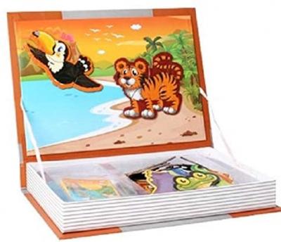 Joc educativ Carte magnetica cu piese puzzle Magnetic Book Animal Spell0