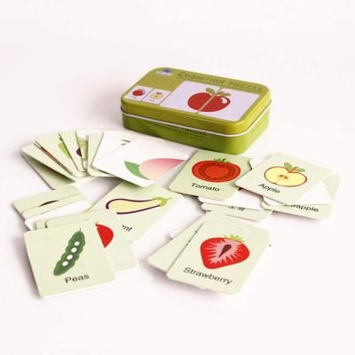 Puzzle de asociere 32 piese dinlemn 16 imagini- cutie de metal fructe si legume2
